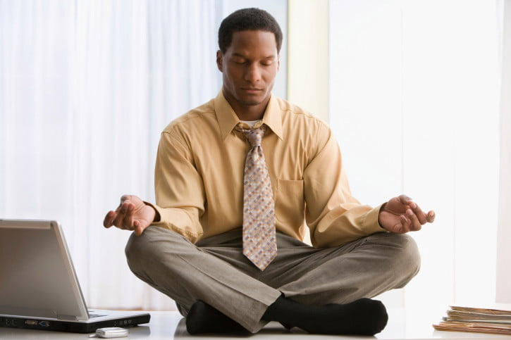 Meditate at your desk. - Short breaks help you refocus, increasing productivity -- and happiness.Listen below.