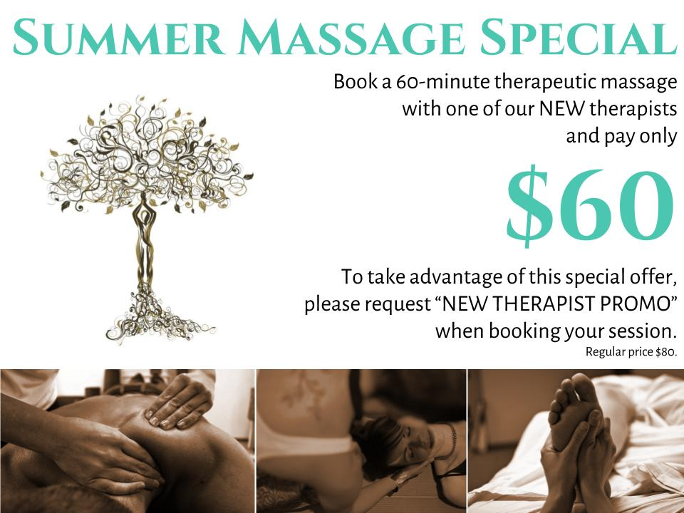 """Be sure to request """"NEW THERAPIST PROMO"""" when booking your $60 massage. Valid Monday-Friday. Ends 8/22/17."""