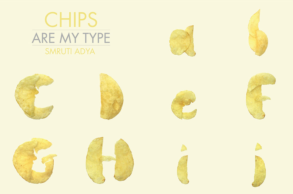"Section of MFA Products of Design student Smruti Adya's ""Chips Are My Type"" typographic exercise, representing the alphabet in potato chip fragments."