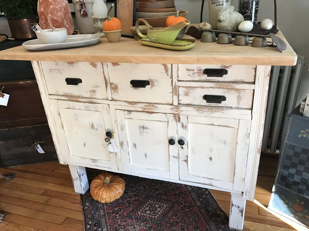 I Spotted This Old Kitchen Cottage Cabinet In A Nearby Antique Store And  Wondered How Terrific This Piece Would Be As A Work Table In An Art Studio.