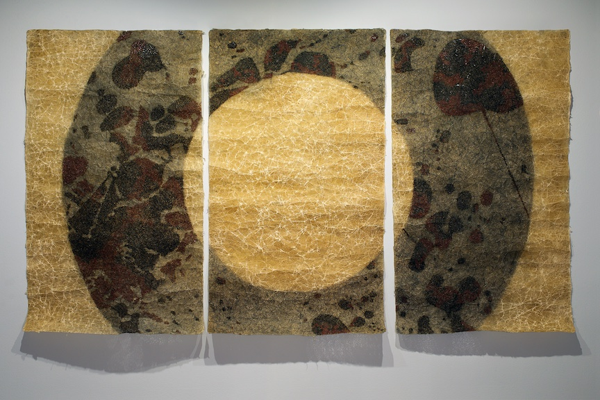 Deborah G. Nehmad, wasted (iii), 2016, graphite, scraping, beeswax, pyrography, thread on handmade Nepalese paper