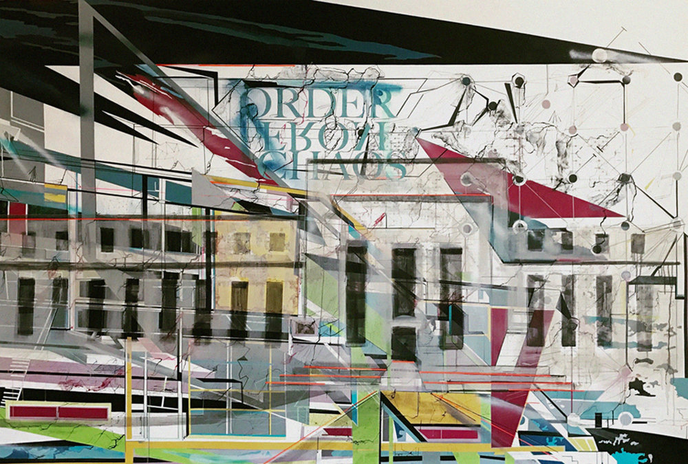 Emilie Duval,Order from Chaos, mixed media on canvas, 66 x 100 inches