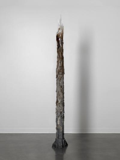 Shang-Yi Hua,Transition, 2016 PVC pipe, concrete, tree bark, resin 92 x 12 x 12 inches