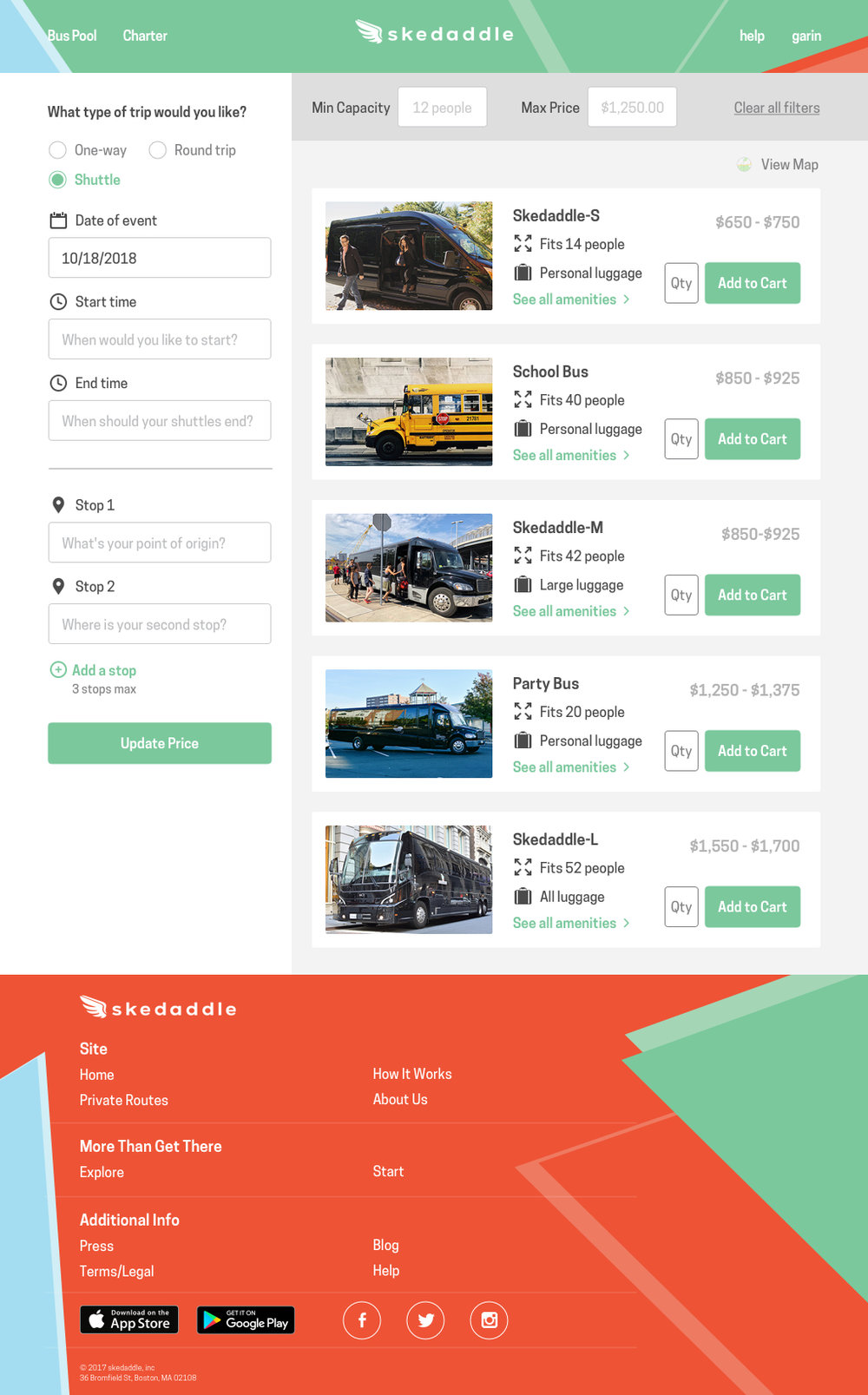 Once a user is here, they will be able to see their vehicle options with a price range. As they adjust their trip criteria, the price range will narrow down until all fields are entered and a singular price is given.