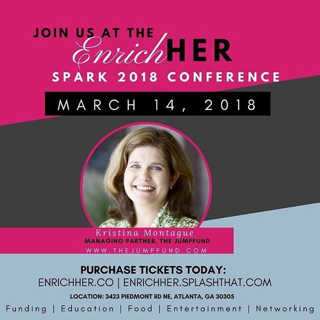 We're so very excited that Kristina Montague will be joining us at the EnrichHER Spark Conference. She is one of the few fund managers who has been open and honest with her process of raising an investment fund by women, for women. She's inspired me in so many ways to continue on my journey from Bootstrap Capital to EnrichHER. Her fund has a track record of investing in many remarkable women-led ventures that are in our network. As such, I know that The JumpFund is truly making a difference in the lives of women. Learn from her at the EnrichHER Spark Conference. Early bird ticket sales end on 2/24.  RSVP - https://enrichher.splashthat.com