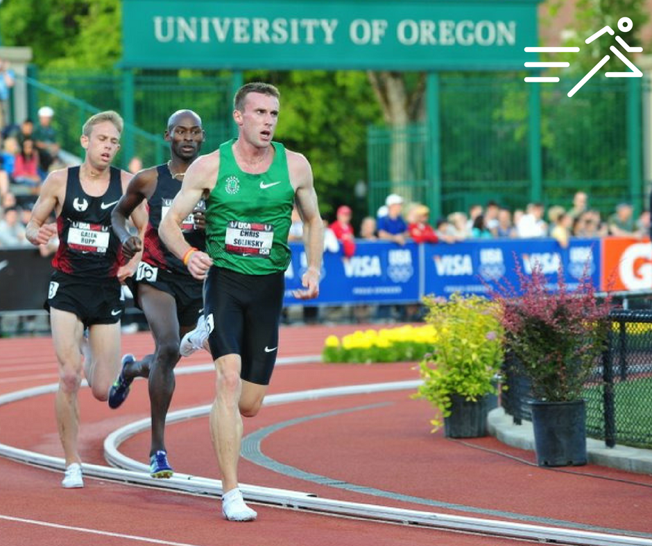The Rocket, Chris Solinsky boldly leads a duo of Olympic medalists in the Men's 5,000m at the 2011 USATF Championships. He finished 2nd. Photo courtesy of Michael Scott.