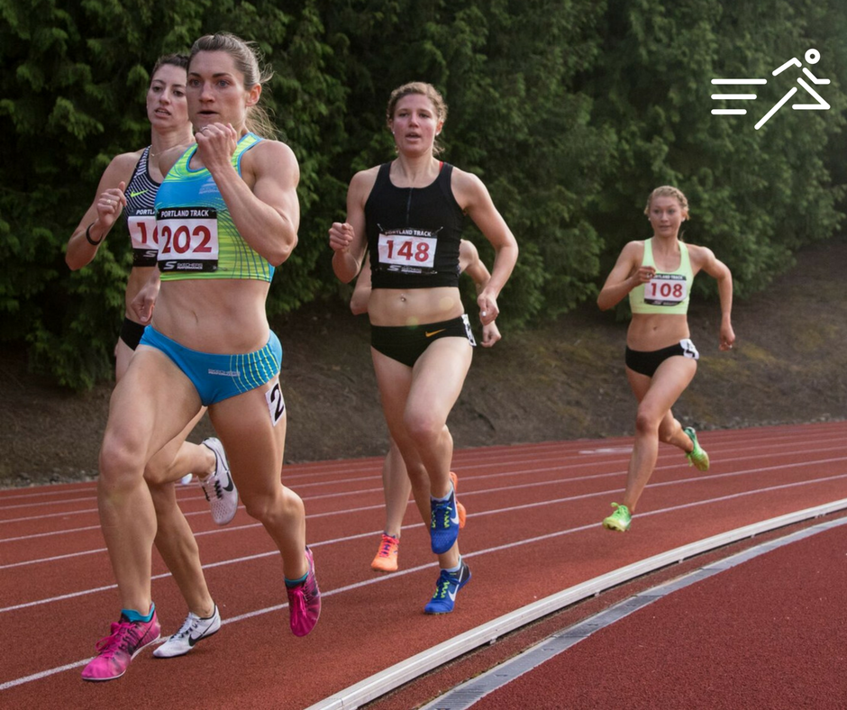 Anna Connor, a High Performance West middle distance ace, is pictured setting the tone in the High Performance Women's 800m at the 2017  Portland Track Stumptown Twilight .