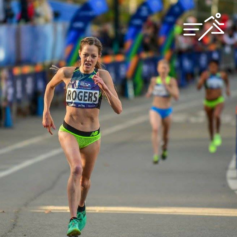 Natosha Rogers (pictured here in the final 100m of the 2017 USATF 5K Road Race Championships) won the 2017 USATF Half Marathon Championships in April.    Photo courtesy of  Michael Scott .