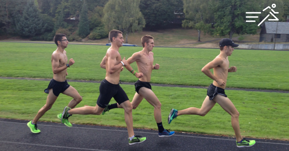 T-Roy Brown (2nd from left) runs powerfully with his Portland State Vikings teammates circa 2014 XC season at the famed Duniway Park track in downtown Portland, Ore.