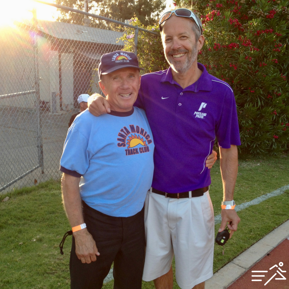 University of Portland Cross Country / Track & Field Head Coach Rob Conner (right) with Coaching Legend Joe Douglas of the Santa Monica Track Club at the OXY High Performance meet in 2012.