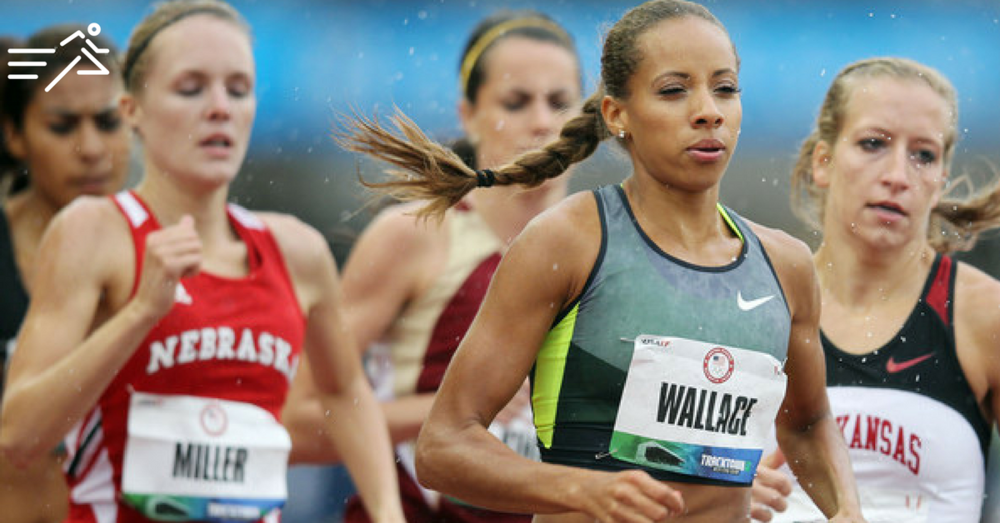 Lea Wallace (grey top) leads the field in the rounds at the 2012 US Olympic Trials.