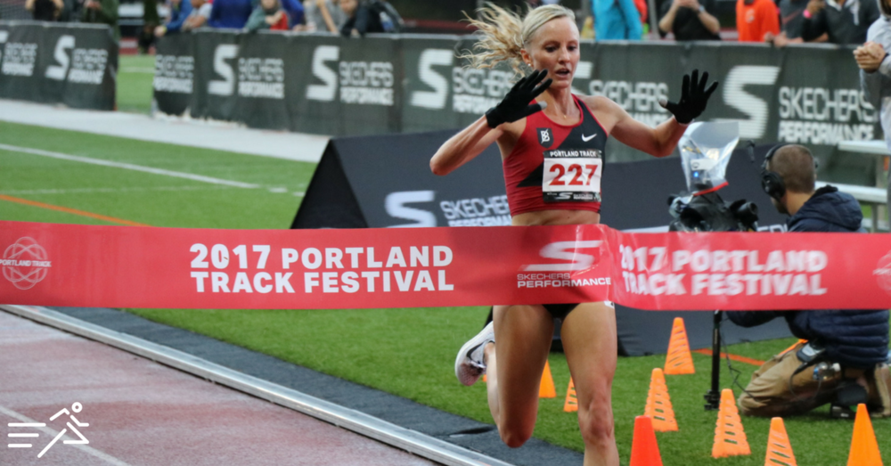 Shalane Flanagan pictured winning the High Performance section of the Women's 10,000m at the 2017  Portland Track Festival  in her typical dominating style.