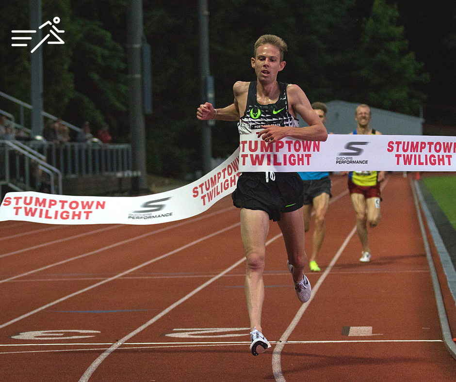 Galen Rupp pictured in what may be the final track win of his career, the 2017  Portland Track Stumptown Twilight High Performance 5,000m.