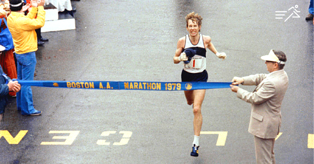 Bill Rogers, aka Boston Billy, pictured winning the 1979 Boston Marathon. Note his expression is not a smile of joy, but a grimace of fatgue.