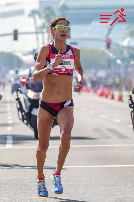 Kara Goucher boldly strides to a 4th place finish at the 2016 Olympic Trials Marathon.  Photo courtesy of  Michael Scott .