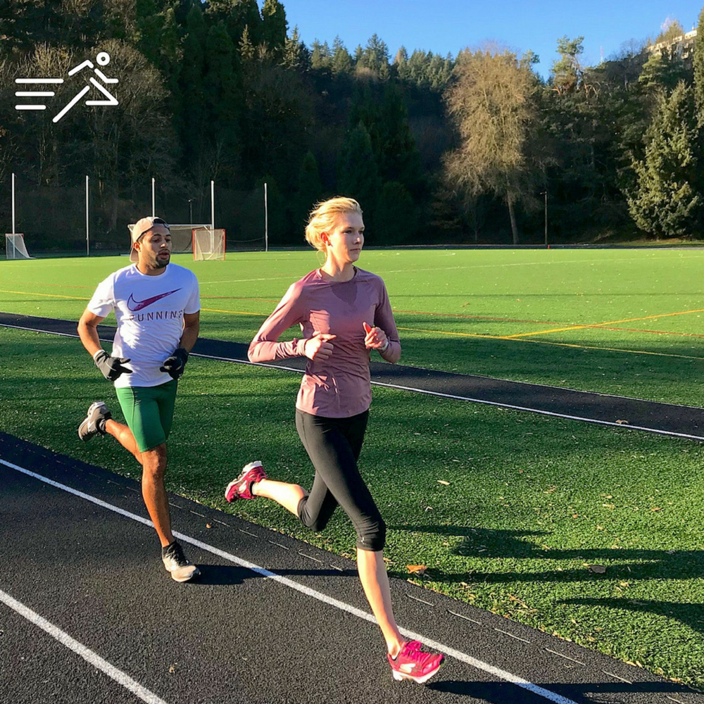 Eleanor Fulton  (right) takes her turn pacing a workout with HPW ELITE teammate,  Ryan Gousse  (left).