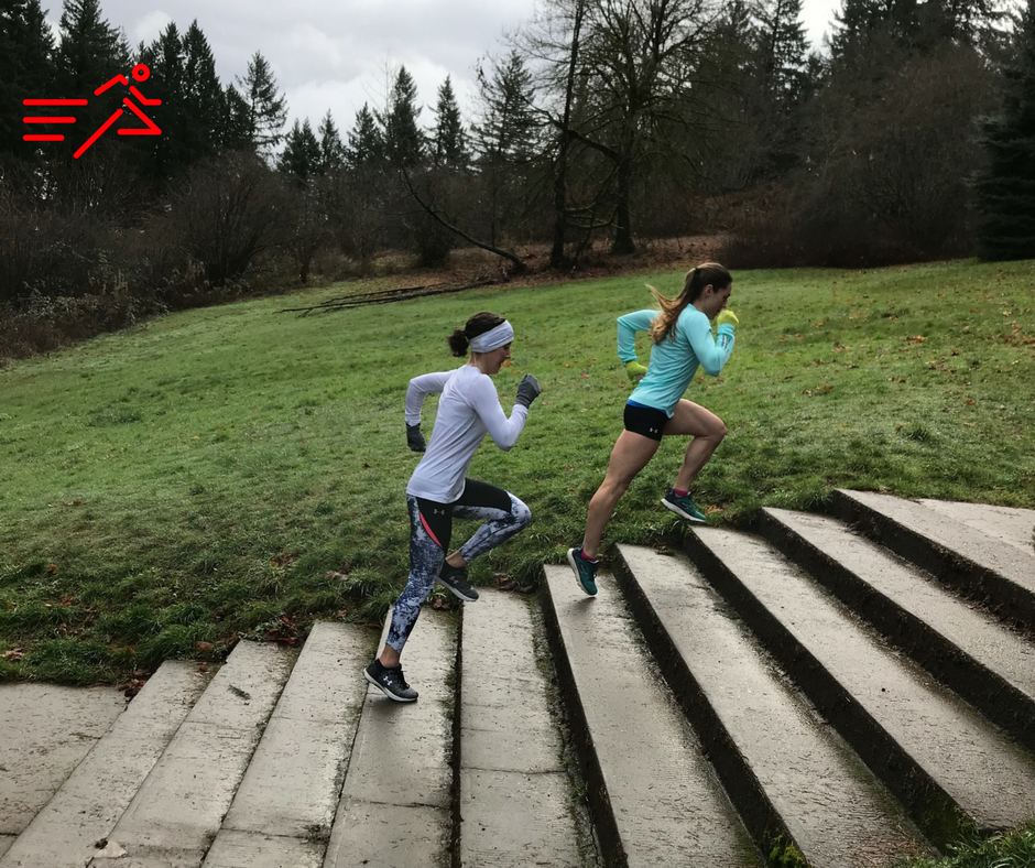 Middle Distance HPW Athletes Valerie and Anna express power by moving their body with rapid force up a flight of stairs.