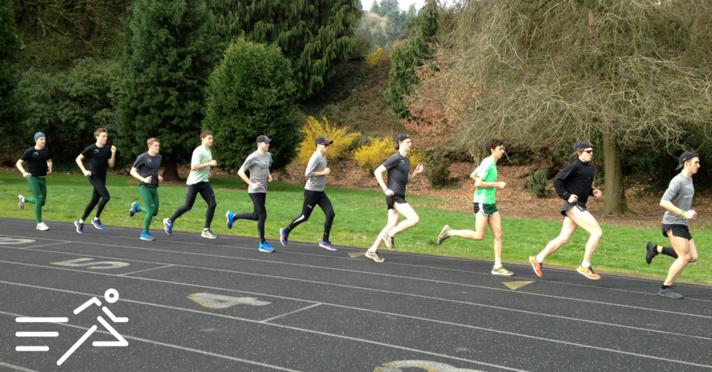 """Jake (2nd from left), John (6th from left) and Neil (far right) run with fellow members of the 2014 Portland State University """"Long Green Line."""""""
