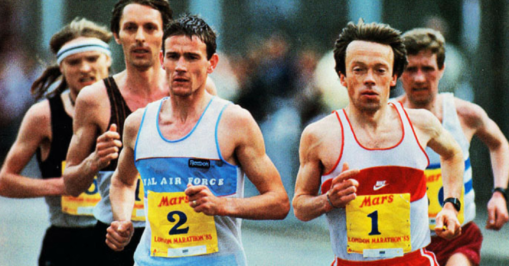 Charlie Spedding (white/red vest) duals Steve Jones (blue vest) in the 1985 London Marathon.
