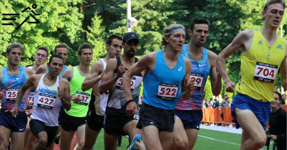 Daniel Herrera (black hat) competes in the 2017  Portland Track Festival  High Performance Men's 1500m.