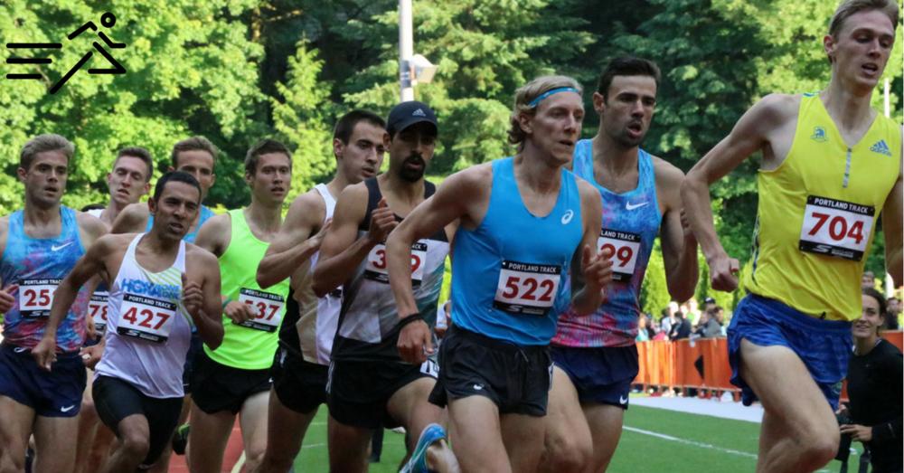 Daniel Herrera (black hat) competes in the 2017  Portland Track Festival  High Performance Men's 1500m.