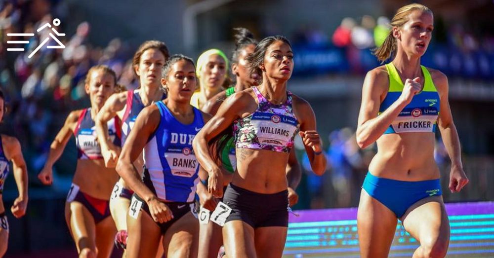 McKayla Fricker leads the way in the first round of the Women's 800m at the 2016 Olympic Trials. (Photo:  Michael Scott )