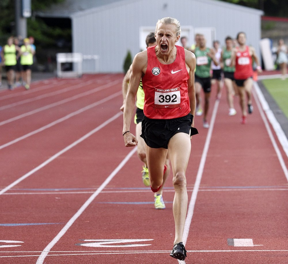 Evan Jager moments after crossing the finish line in the Men's 1500m at the 2015  Portland Track Festival .