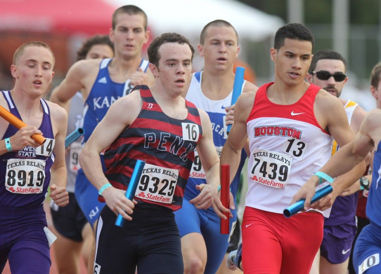 Drevan Anderson-Kappa (Houston vest) competes in the 4 x 800m at the 85th edition of the Texas Relays.