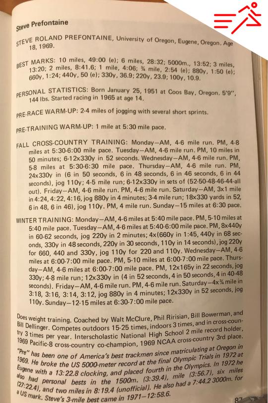 Prefontaine's training profile, circa 1969.