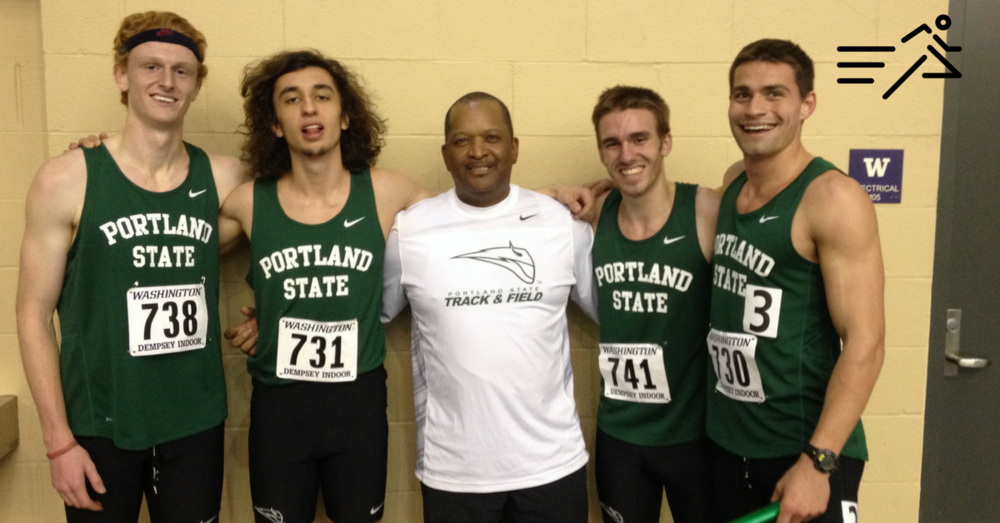 T-Roy Brown (far right) was anchor leg on the Portland State Distance Medley Relay record setting team in 2015.