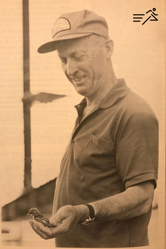 My favorite picture of Bowerman, the bird lover.