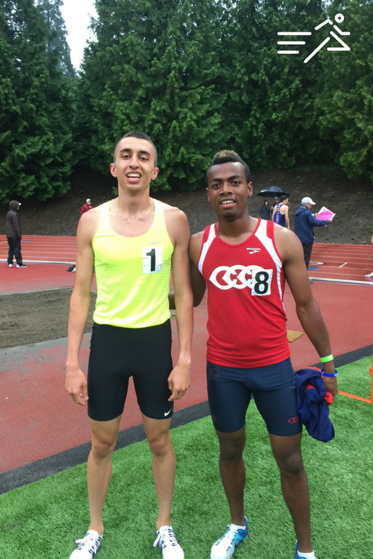 1:47 800m man Nathan Fleck (yellow vest) moments after a win at the 2016 Portland Twilight.