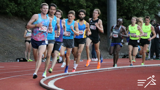 The Men's High Performance 5,000m at the 2017 Portland Track Festival, led by former Pilot/Duck, Trevor Dunbar of Alaska lineage.