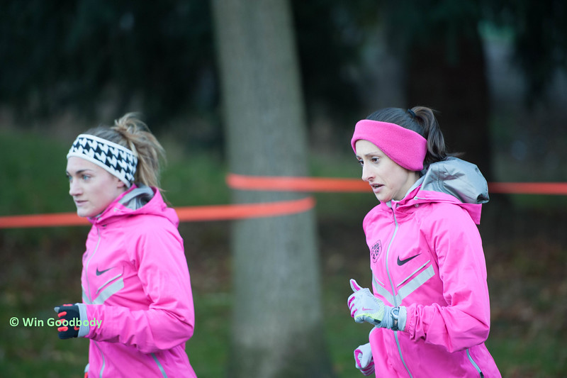 Kristen Rohde (right) warming up for a XC race with High Performance West teammate Anna Connor. Photo:  Win Goodbody