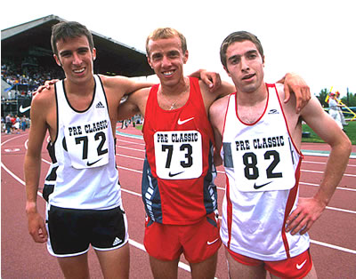 Steve Magness (#72), as a high school senior, with Alan Webb (#73) at the Pre Classic 2003.