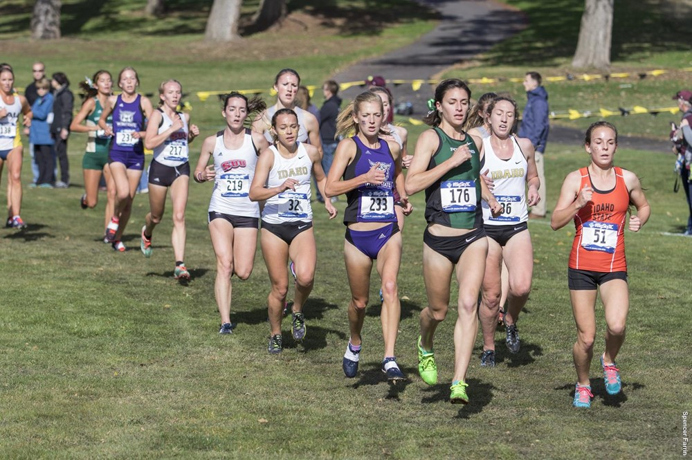 Sarah Medved (#176) ran to Big Sky XC all-conference honors in 2016.