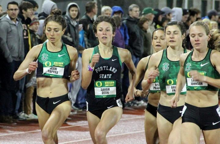 Sarah Dean competes in the 2014 Oregon Twilight 1500m. She ran 4:22 that night, a Portland State University school record.