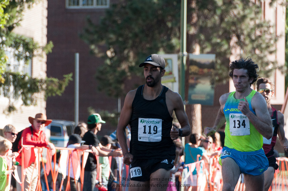 HPW Elite Miler and Mexican 1 Mile National Record holder, Daniel Herrera (#119)racing late July 2017 at the Bend (Ore.) Road Mile Classic.