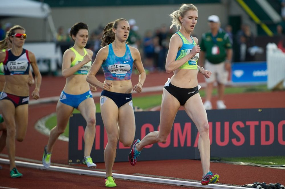 Eleanor Fulton (right) setting the pace at the 2017 Pre Classic in the Women's 1500m National race.