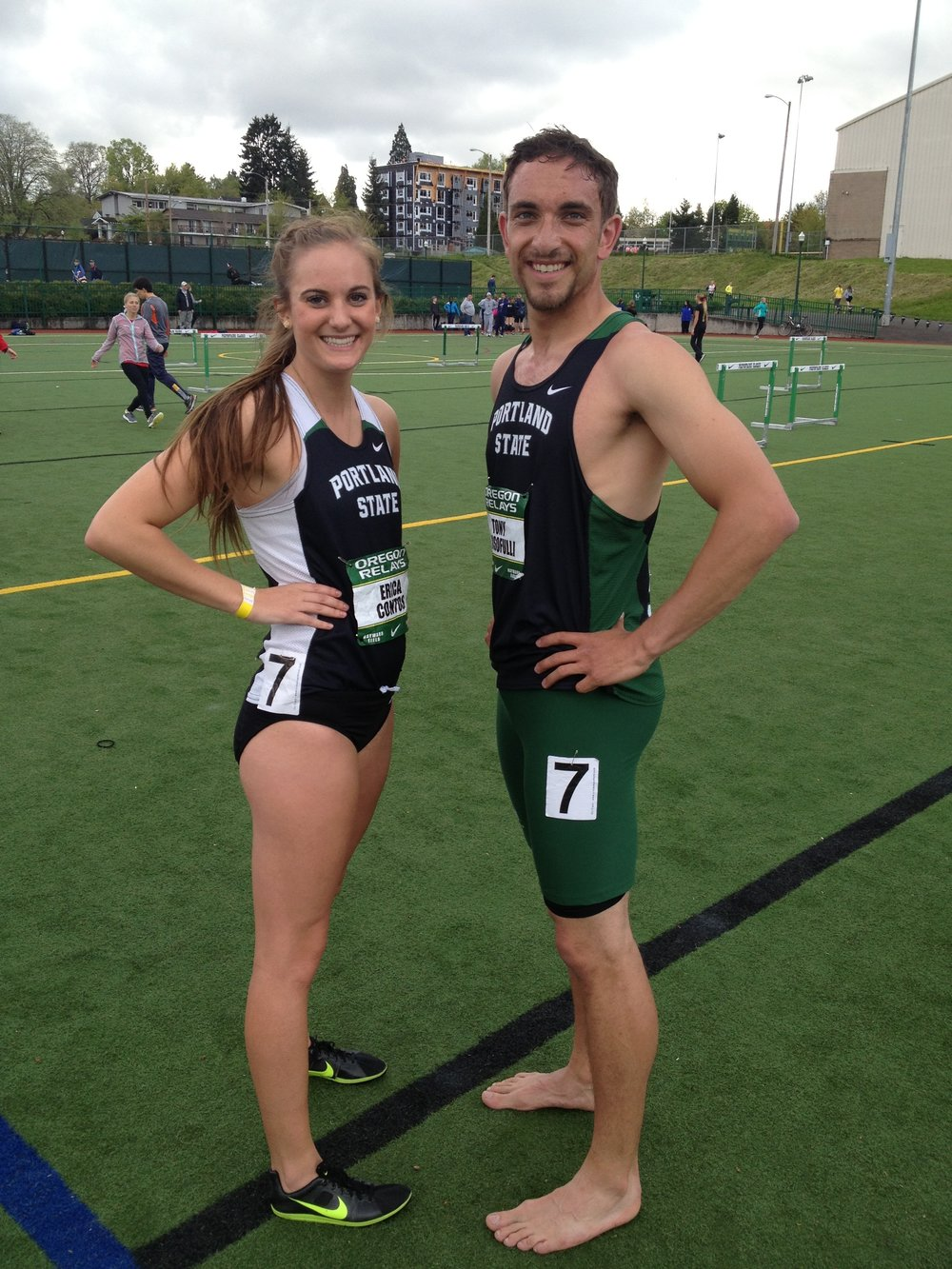Erica Contos (left) all smiles with her Portland State teammate Tony in the early 2010s.