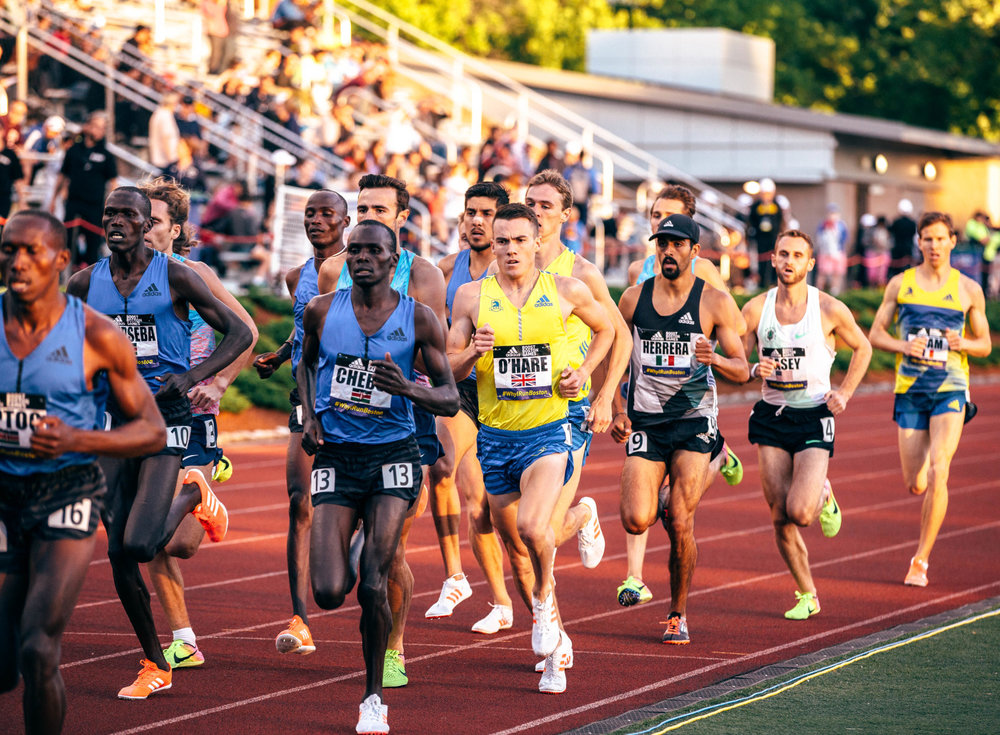 HPW Elite Miler,  Daniel Herrera  (black hat) competes at the Adidas Boost meet in 2017.