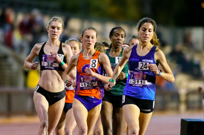 Eleanor Fulton (#32), tackles her first 5,000m race at the 2018 Payton Jordan Invite. Photo:  Runnerspace