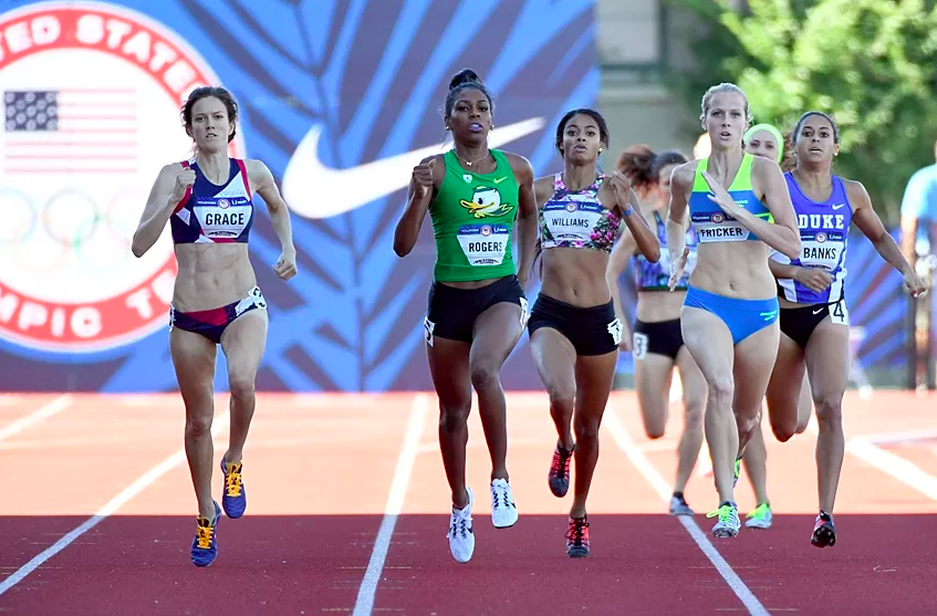 McKayla Fricker, competing in the 1st round of the 2016 US Olympic Trials in the Women's 800m.