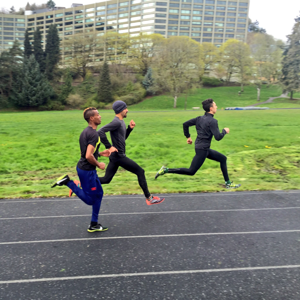 Daniel Herrera (middle) sprints with High Performance West elite 800m men, early 2016.