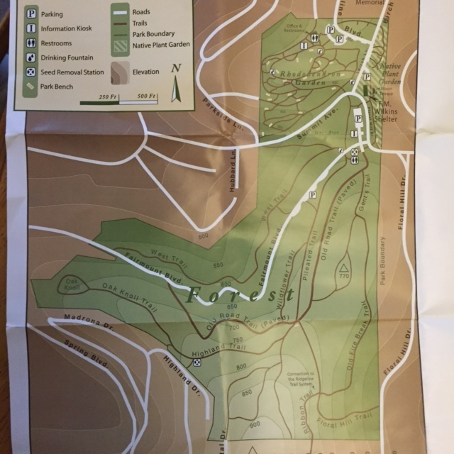 Map of trails in Hendricks Park