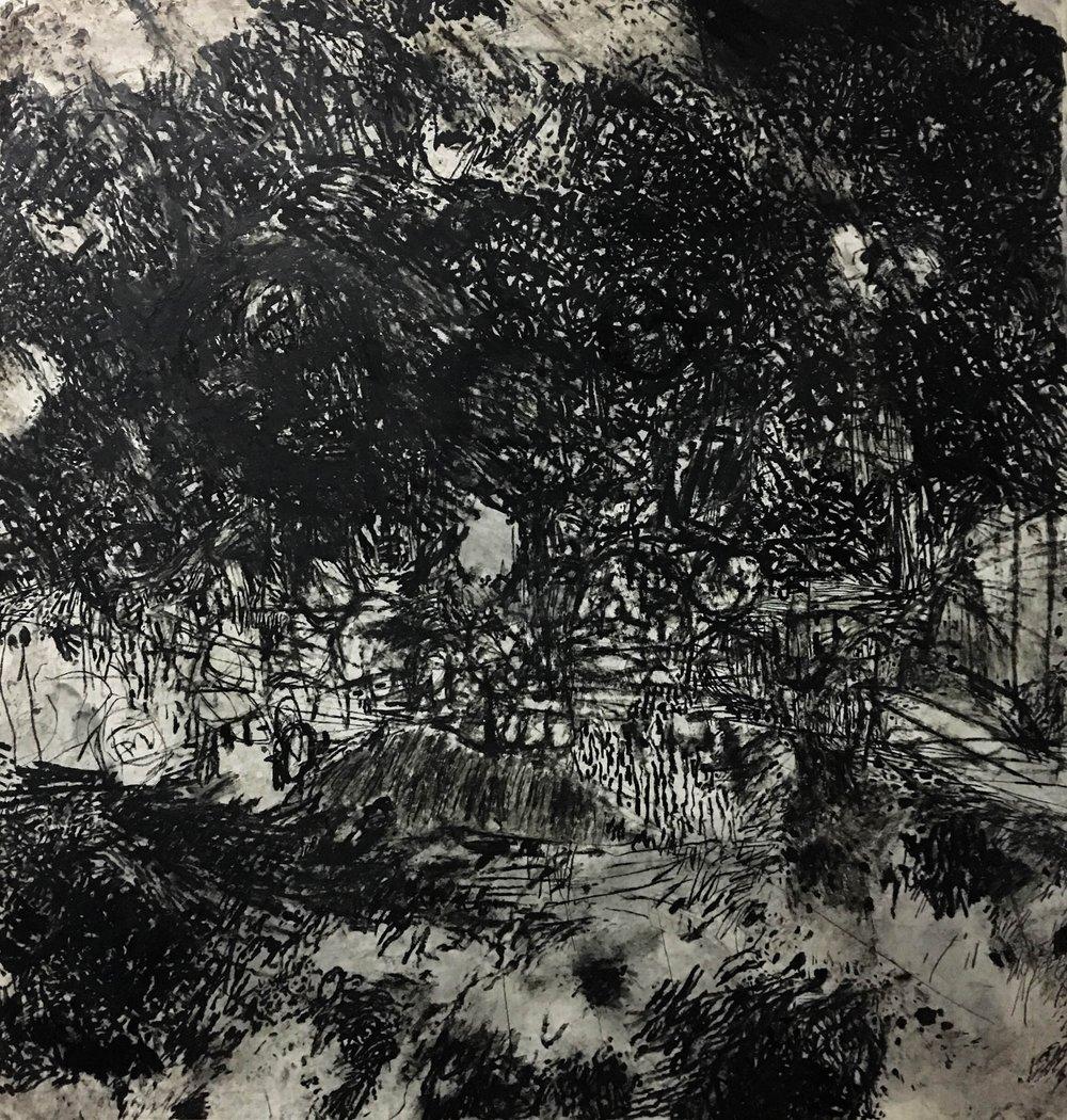 Steve Waller:  Closure Oil stick on paper 150 x 143cm