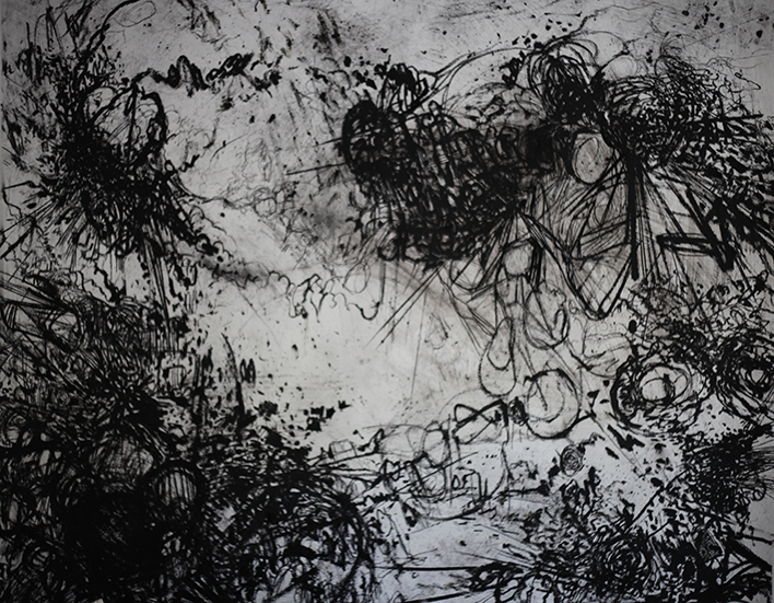Steve Waller:  Unseen  – A Festival of Ghosts  Mixed media on paper  146 x 149cm (Sold)