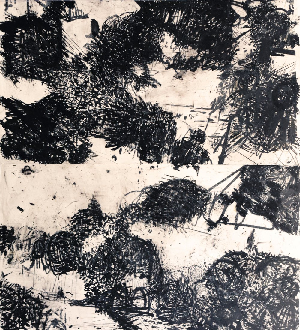 Steve Waller: Trauma Kept Them Here. Oil stick on two sheets of paper 160 x 150cm