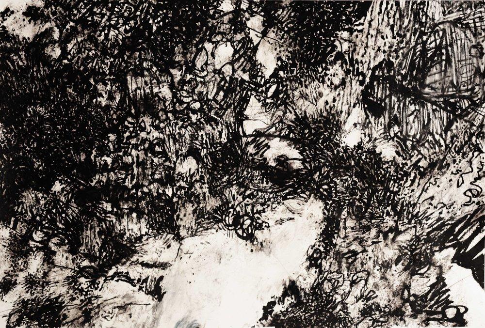 Steve Waller: I Fell Through Myself. Mixed media on paper 105 x 151cm