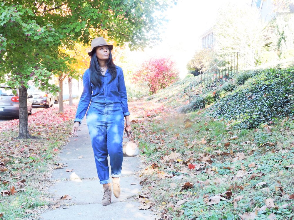 Shannan's Look: Hat and Jumpsuit Forever21 | Boots DSW Warehouse | Bag Gucci {old}